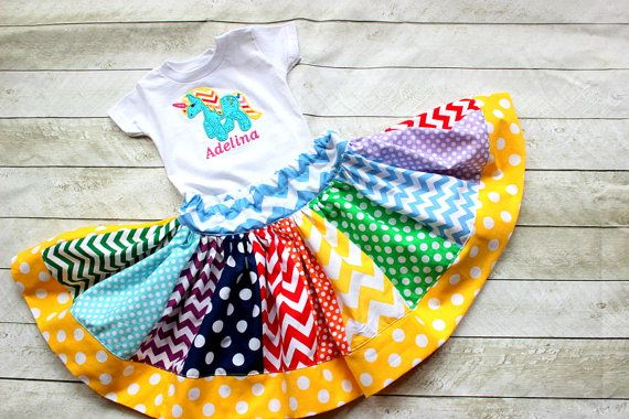 Girls rainbow skirt. One of a kind rainbow skirt for girls. This listing is for a chevron rainbow polka dot skirt perfect for photo and birthdays and back to school.     PLEASE READ... This is a super twirly rainbow chevron skirt. The fabrics choices may vary because we use 20 different fabric strips for this skirt. It has ALL colors of the rainbow!! From bright green to light blue they are all covered. And each skirt is one of a kind! ..    THIS ITEM IS FOR THE SKIRT ONLY...if you would…