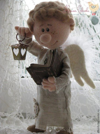 Angel with book and lantern. Наталья Савинова: куклы из шерсти