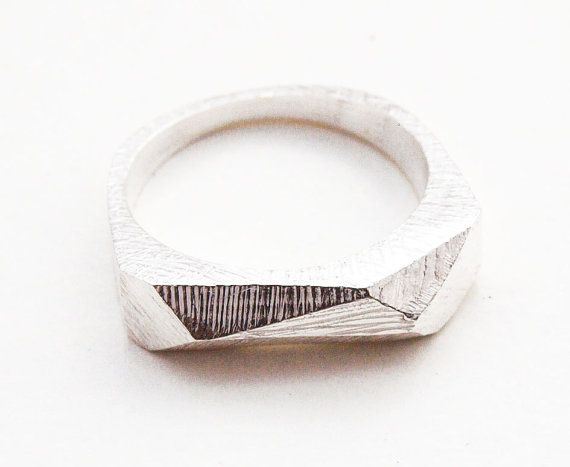 Silver Faceted Bar Ring by Kerrie Yeung