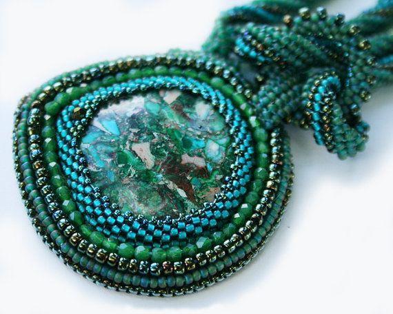 green jasper green pendant green necklace embroidered #embroideredpendant, #beadedpendant   #jaspernecklace, #greennecklace