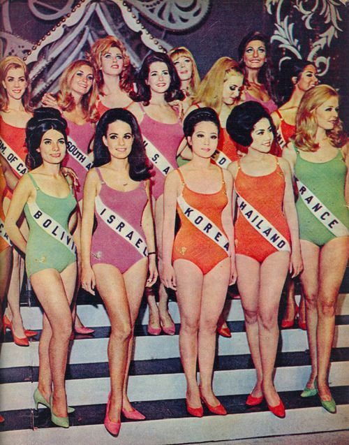 Miss Universe Pageant, 1968.  Interesting to see the progression to the pageant we have today