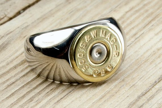 Mens Stainless Steel & Brass Bullet Ring by BulletDesigns on Etsy, $39.95