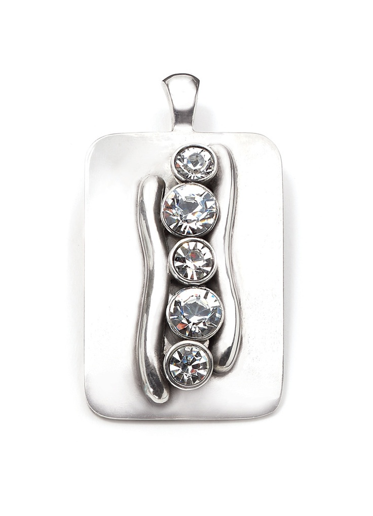 Burnished silver enhancer with dramatic swarovski crystal centre piece
