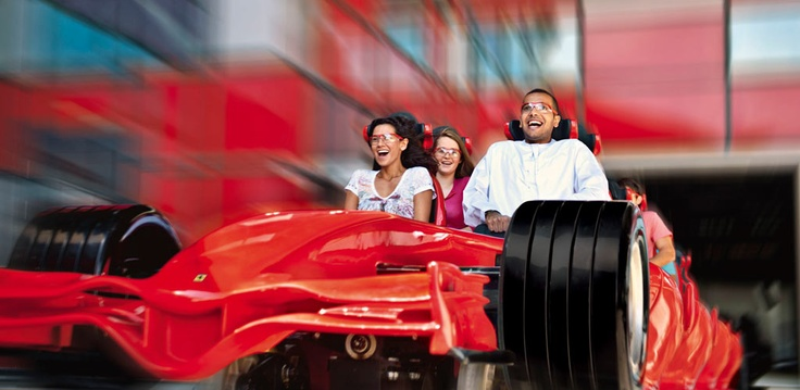 FORMULA ROSSA - Strap yourself into the F1™ cockpit and hold onto your soul as you blast away on the fastest roller coaster on the planet. You'll accelerate up to 240km/h and see what 4.8 Gs really feels like. You'll scream over the track and 52 meters into the sky before flying through the chicanes, inspired from some of the most famous race tracks in the world, and across the finish line, with an adrenaline kick worthy of the Grand Prix.