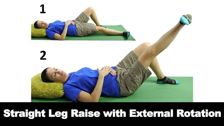 A straight leg raise with external rotation is a great way to help strengthen your hips, legs and lower back. Watch more Ask Doctor Jo videos featuring full routines for common injuries and syndromes at http://www.askdoctorjo.com