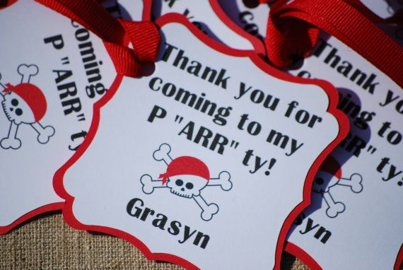 Welcome to Cutie Pie Party Shop Too! This listing is for a Favor Tags in the Pirate Party Theme. The price includes 12 Favor tags with your own personalized childs name. Colors can be changed if needed. Other listings for this theme:  Banner: https://www.etsy.com/listing/248896259/pirate-birthday-party-banner-pirate?ref=shop_home_active_3&ga_search_query=Pirate  Centerpiece Sets…