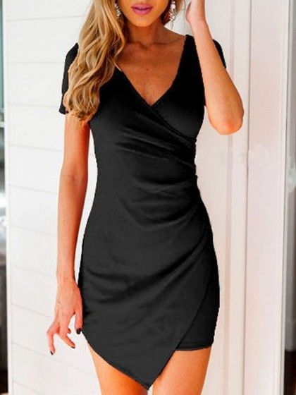 Black, V Neck, Wrap Front, Asymmetric, Bodycon Dress