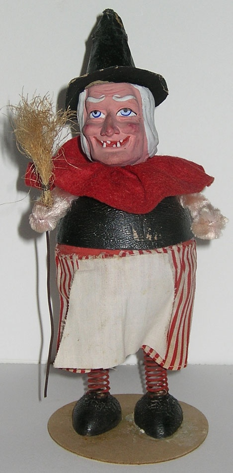 antique hc capwell halloween witch candy container figure bisque germany - Antique Halloween Decorations