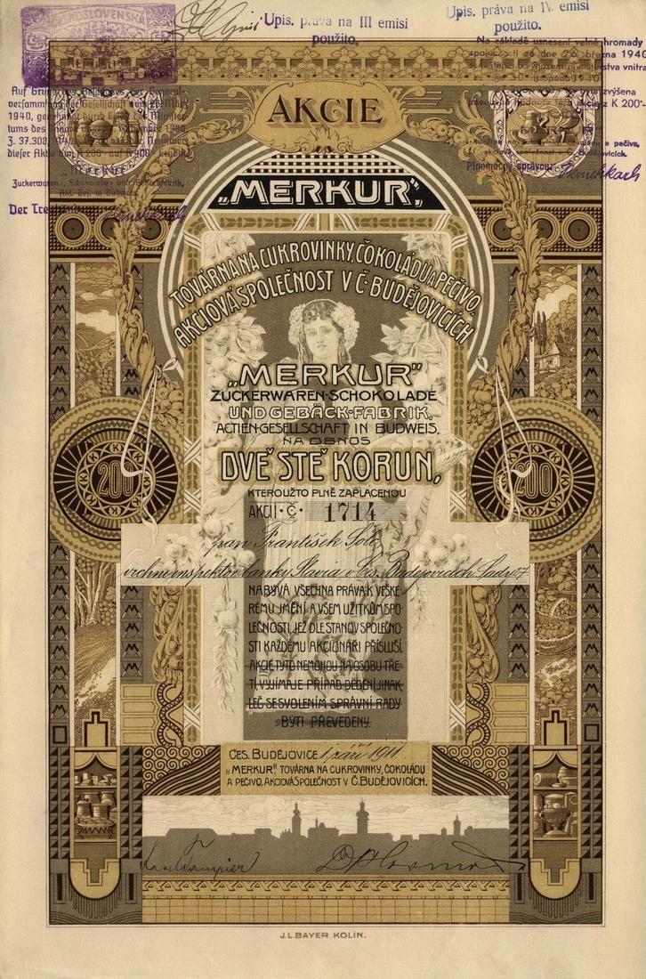 """""""MERKUR"""" továrna na cukrovinky čokoládu a pečivo akc. spol. v Českých Budějovicích (""""MERKUR"""" Zuckerwaren-Schokolade umd Gebäck-Fabrik AG in Budweis). Akcie na 200 Korun. České Budějovice, 1911."""