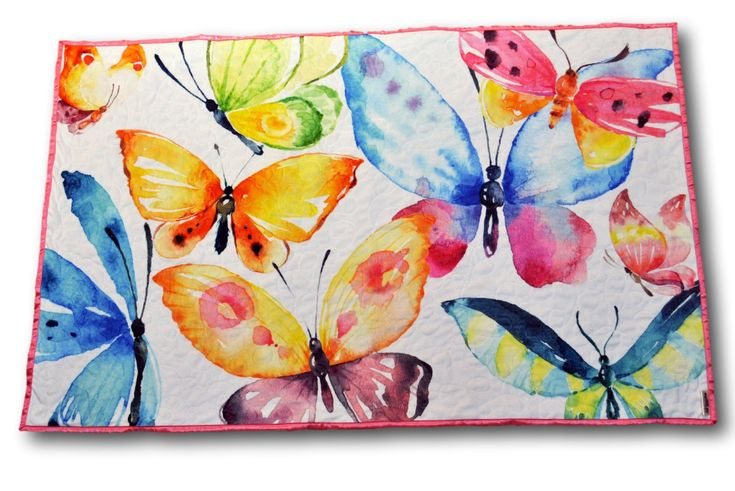 Handmade minky and satin baby quilt-- gorgeous watercolor butterflies!