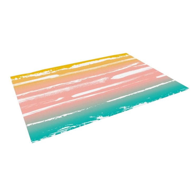 Kess InHouse Anneline Sophia Painted Stripes Peach Pink Teal Outdoor Patio Rug