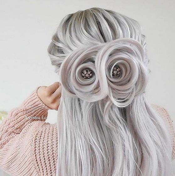 Most gorgeous hair flowers pattern hairstyle