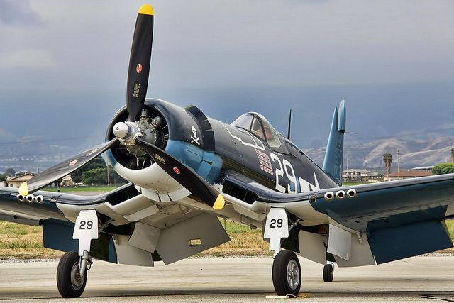 Chance-Vought F4U Corsair fighter of WWII fame. It was such a good aircraft that it enjoyed the longest production run of any fighter aircraft.