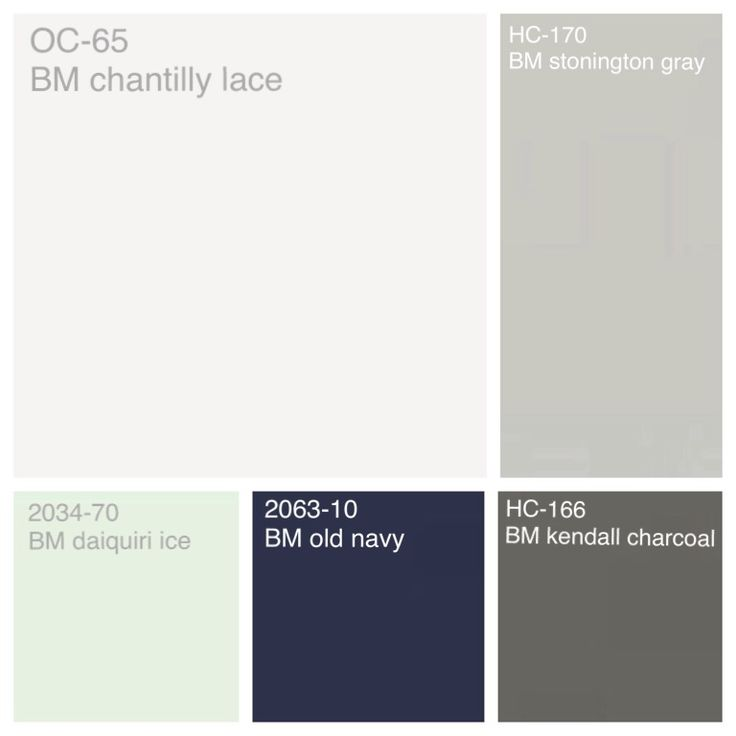 Benjamin Moore color scheme: Trim/Ceiling- chantilly lace Walls- Stonington gray Bathrooms/Utility - daiquiri ice Cabinets - old navy Accent- - kendall charcoal