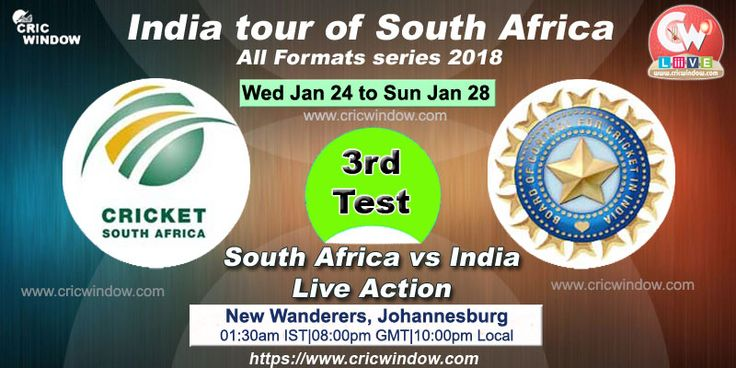 3rd test : India vs South Africa live between 24 to 28 Jan from Johannesburg https://www.cricwindow.com/cricket-live-match-video.html