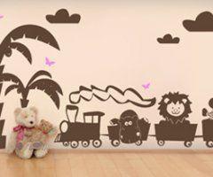 #kindersticker van een trein met leuke dieren erin
