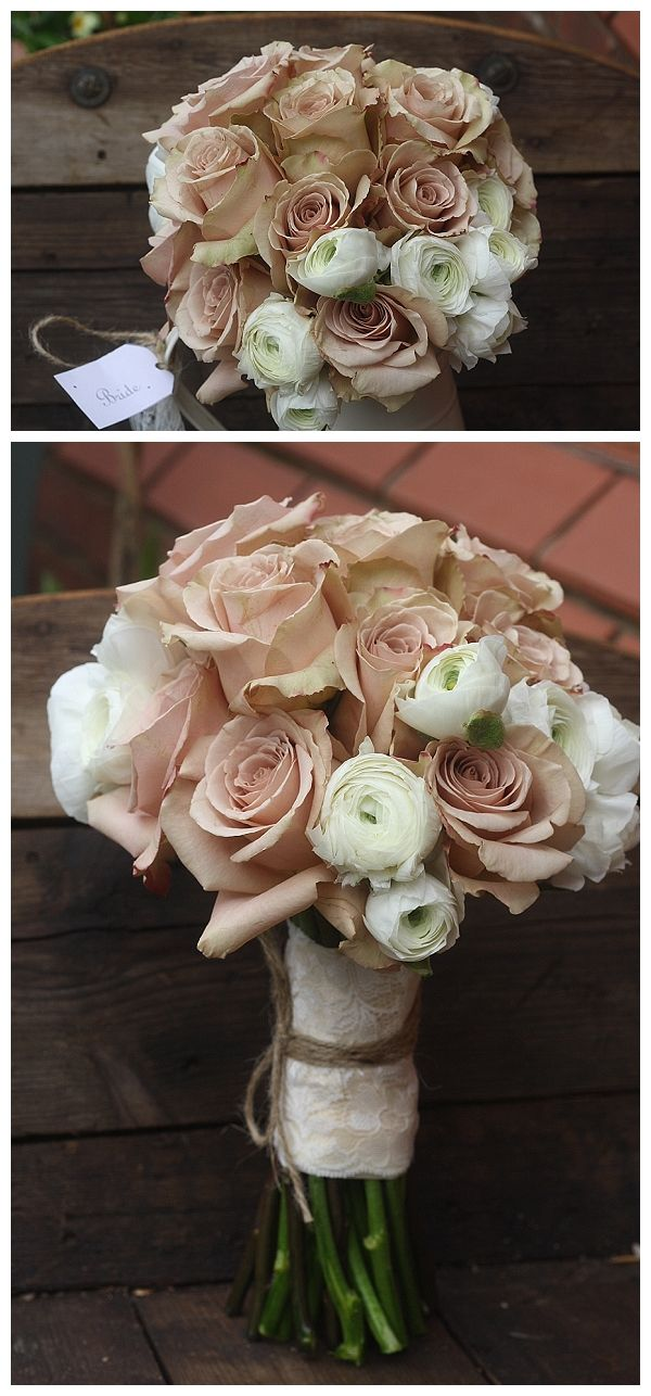nude roses white ranunculus bridal wedding bouquets