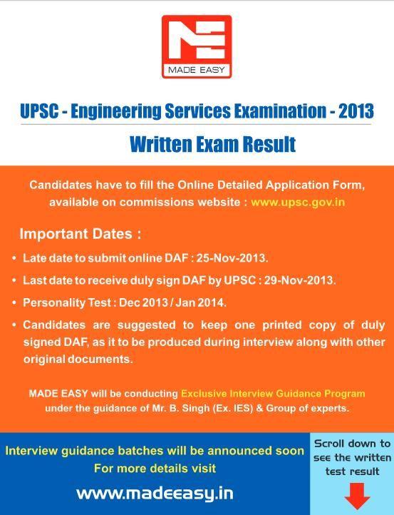 UPSE - Engineering Services Examination - 2013 Written Exam Result