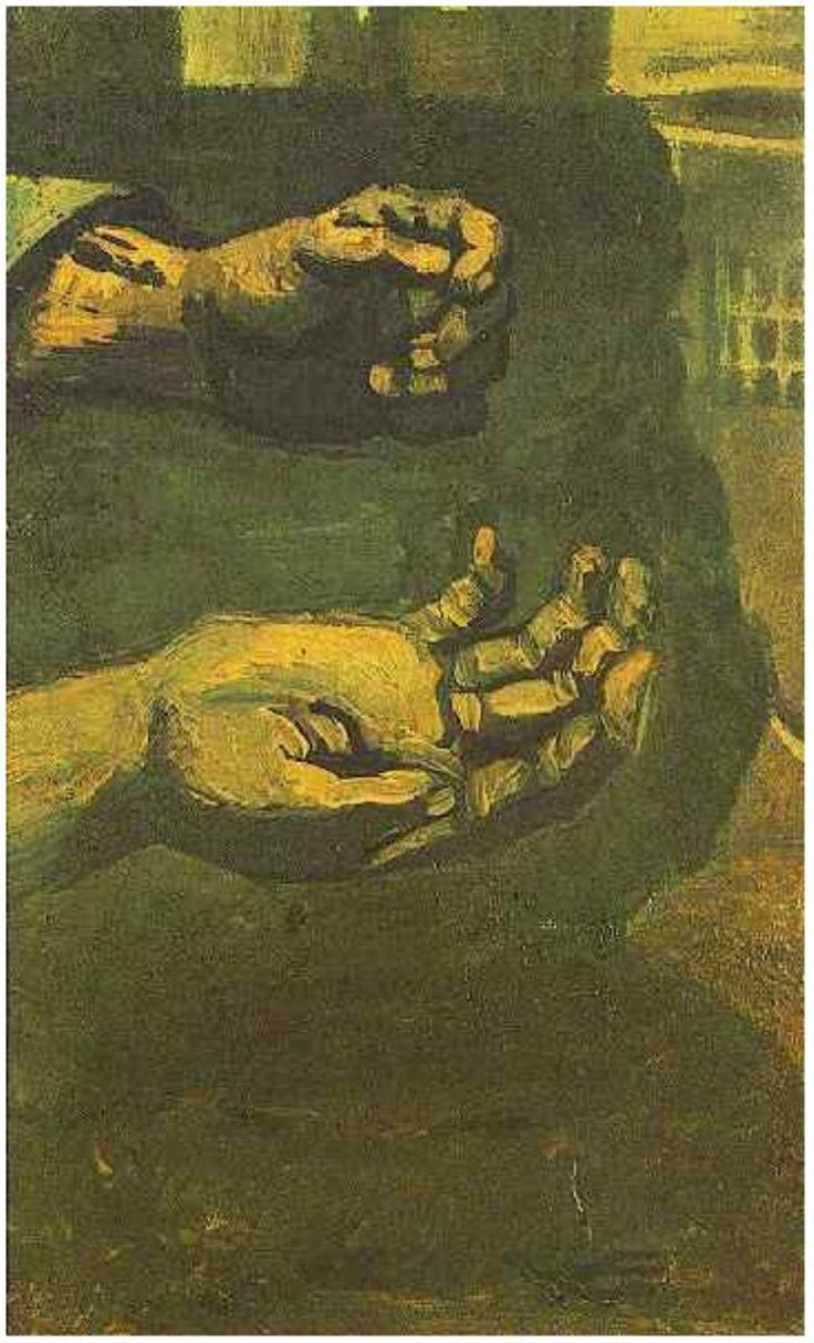 Vincent van Gogh Painting, Oil on Canvas on Panel Nuenen: April, 1885 Private collection  Two Hands. Van Gogh Gallery