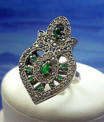 GERBERA! Turkish Emerald Topaz Stone 925K Sterling Silver Ring Size 8.75