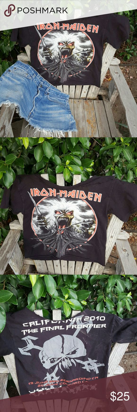 Iron Maiden Concert Tshirt Perfectly cut up Iron Maiden concert tshirt . Great with Cut off Levi's shorts small but fits like a medium fine for both sizes Tops Tees - Short Sleeve