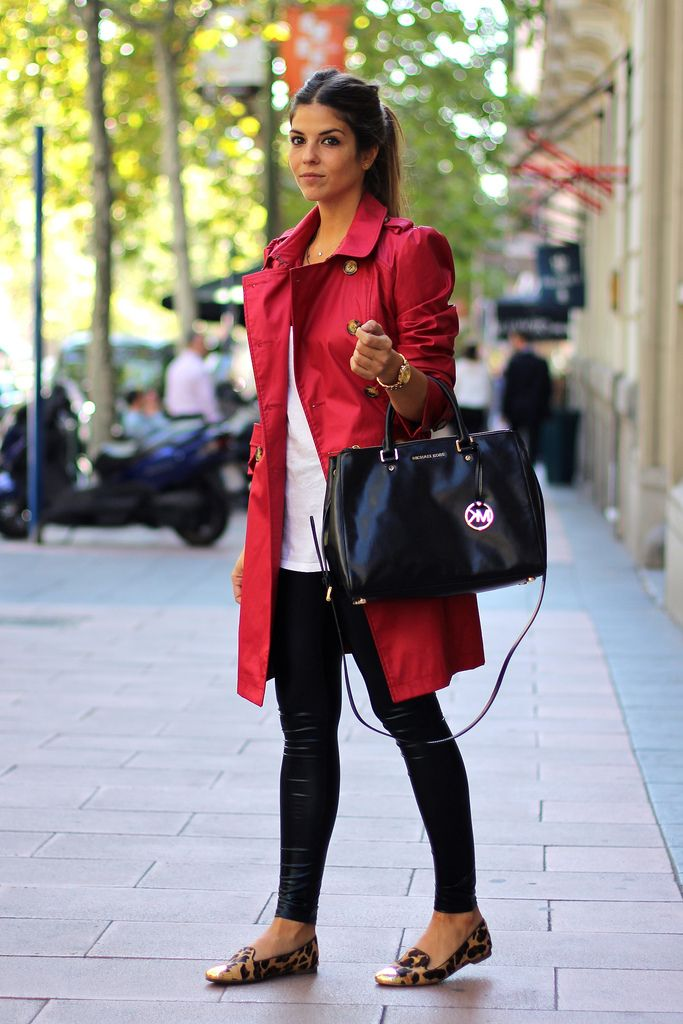 Red trench + leopard flats