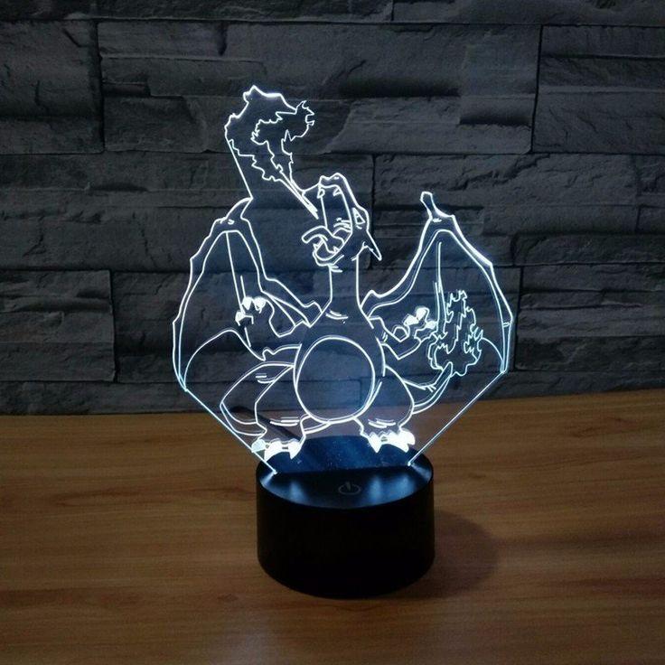 Pokemon GO Charizard Fire Breath Color Changing 3D Illusion Acrylic Lamp  #Pokemon #GO #Charizard #Fire #Breath #Color #Changing #3D #Illusion #Acrylic #Lamp