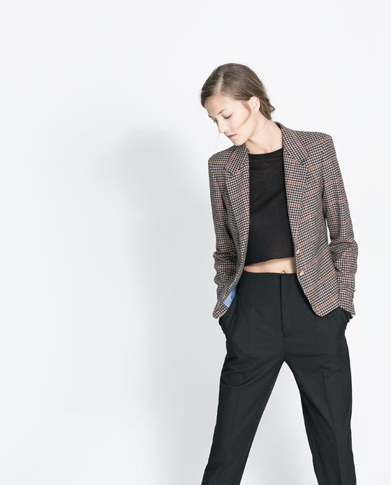 ZARA - WOMAN - CHECKED BLAZER WITH COMBINATION LINING 80