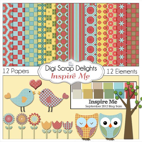 Free digital scrapbook kit blog train Inspire Me Sept 2012