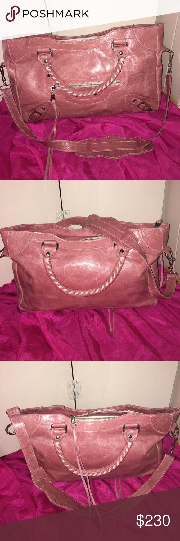 """NWOT Tammi Lyn pink leather saddle bag NWOT Tammi Lyn pink leather saddle bag. Spacious beautiful bag, made of 100% Italian leather with suede leather lining. Brand new never worn. This bad is made by designer Tammi Lyn and is reminiscent of the Famous  Balenciaga city bag. This pink leather designer bag is a must have for the spring. Measurements are approximately 9""""H and 12"""" W. Bag drop is 12"""" Tammi Lyn Bags Satchels"""