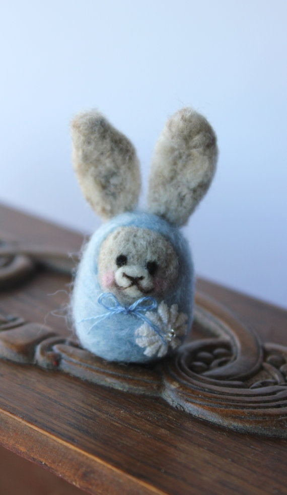 Bunny Babushka  Needle Felt Easter Bunny in by TheSnowQueensGarden, $15.50