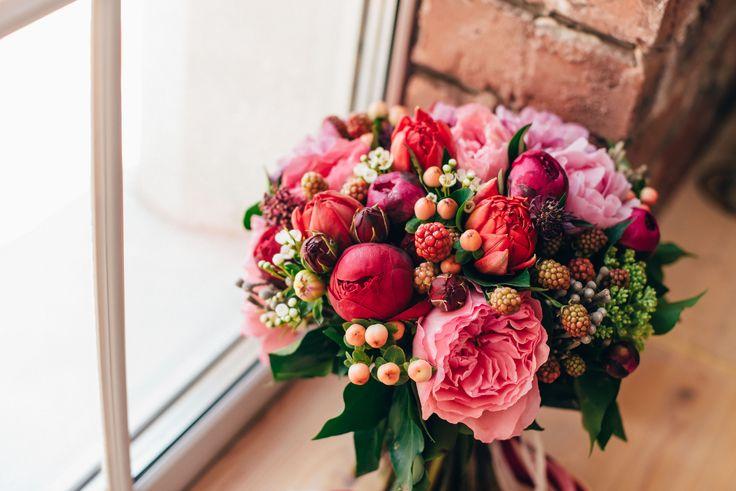 Berry bridal bouquet of garden roses, brunia, peony, sedum, dahlia, rubus, hipericum, waxflowers