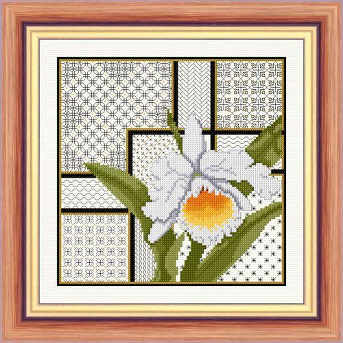 Cattleya Orchid and Blackwork - Aida Kit