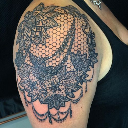 lace shoulder tattoo - Recherche Google