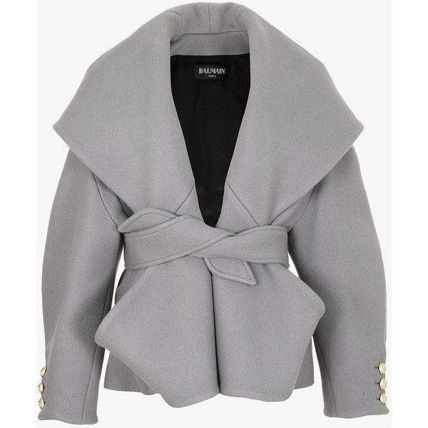 Wool and cashmere belted coat | Women's coats | Balmain (€4.170) ❤ liked on Polyvore featuring outerwear, coats, balmain coat, belted coat, coat with belt, woolen coat and belt coat
