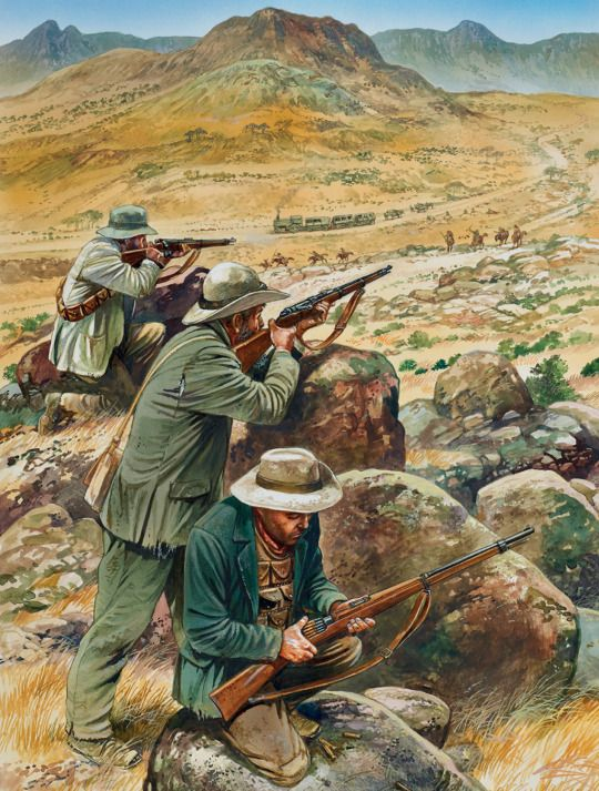 An illustration of Boers engaging British forces during the Boer War (1899-1902).