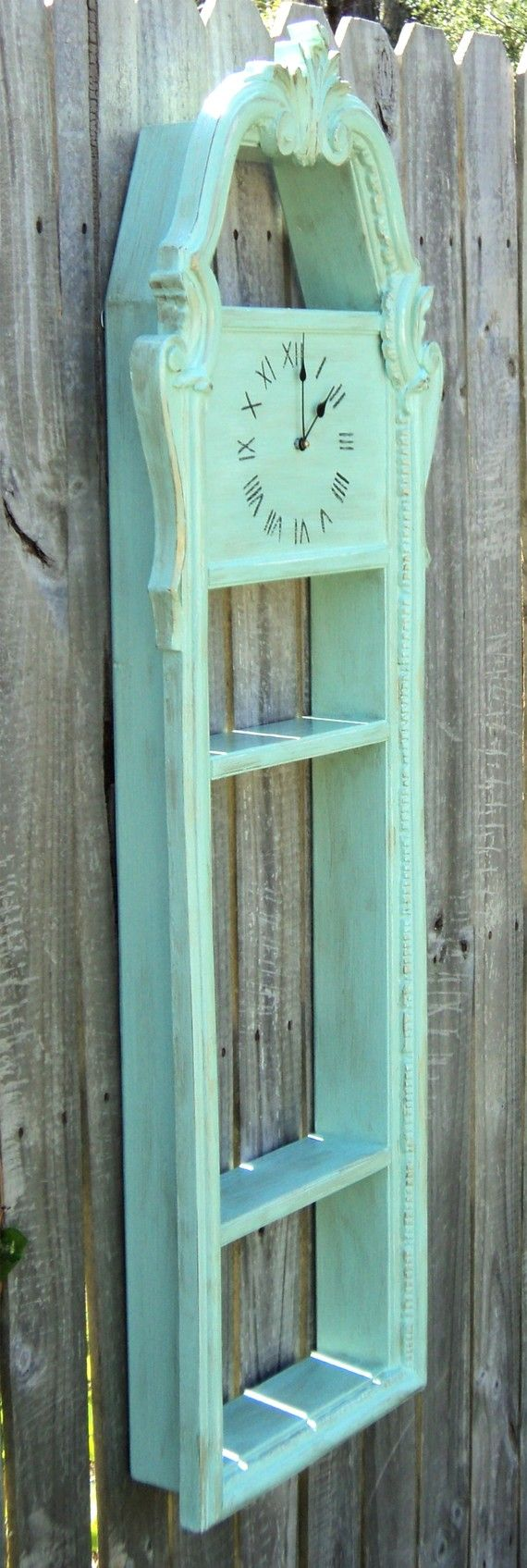 Large AQUA GREEN Upcycled Vintage Framed Display Shelf Clock Living Room
