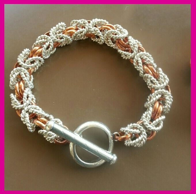 Make A Chain Mail Bracelet: Chain Maille Bracelet Made With Twisted Silver And Gold