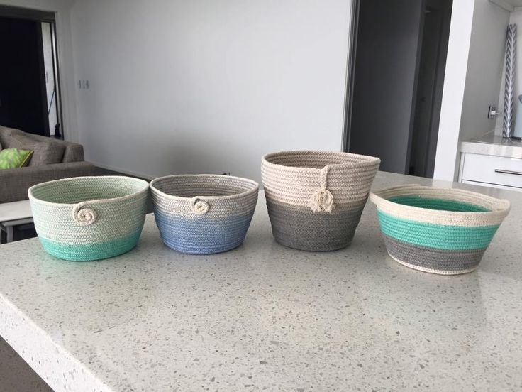 Results at Home from our workshop attendees, dip dyed baskets by Lynda R