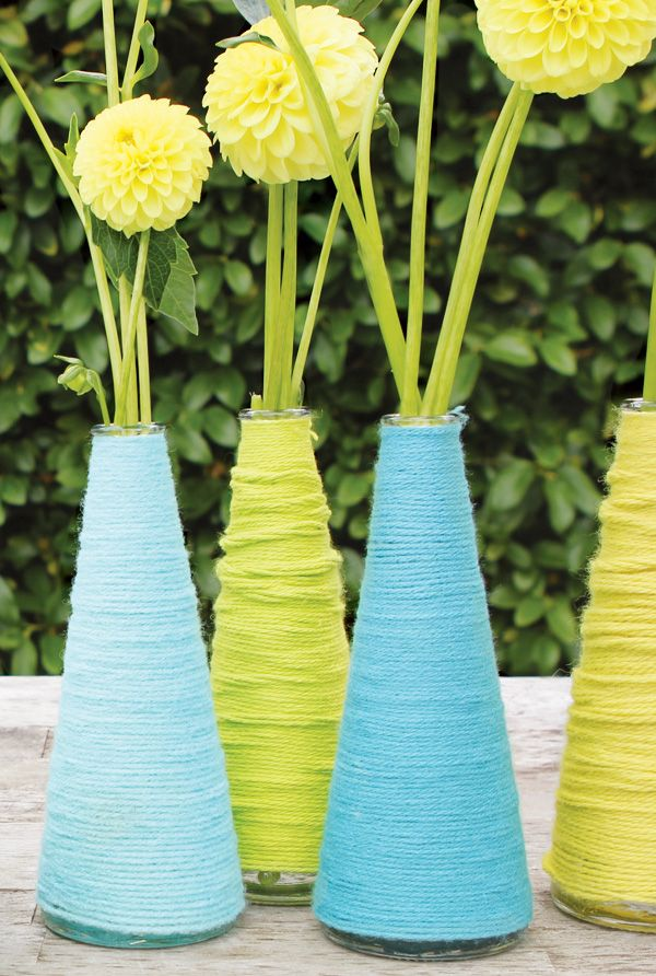 Yarn Wrapped Vases - Great for Centerpieces or Gift Table Decorations