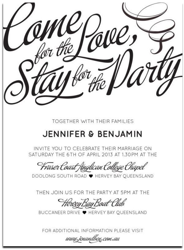 Informal wedding party invitation wording ideas