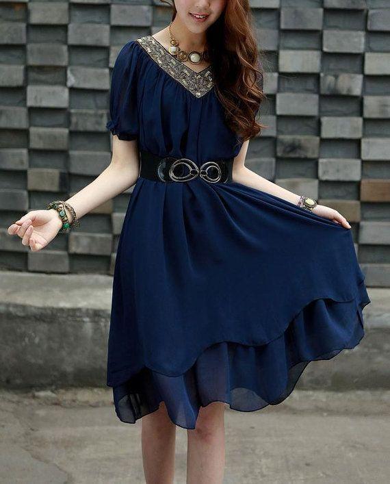 Bark blue chiffon Skirt maxi dress short by originalstyleshop, $59.00