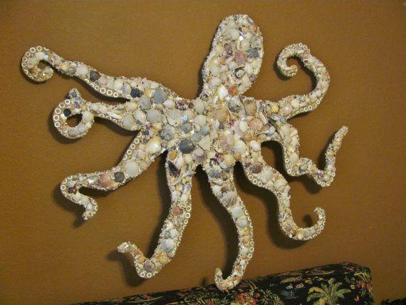 octopus wall art  seashell mosaic on wood  coastal octopus