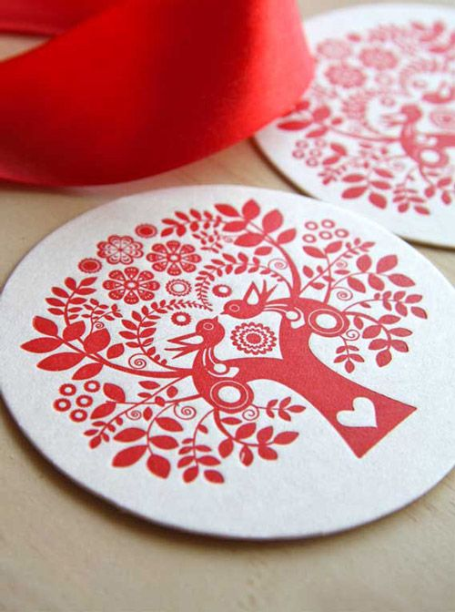 scandinavian folk design dishes | Scandinavian folk art coasters letterpress printed on recycled paper ...