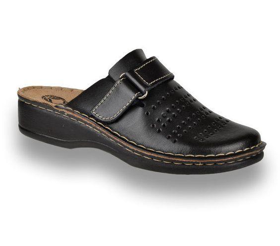 Comfort Step 160102M Fekete, fekete színű női papucs bőr felsőrésszel