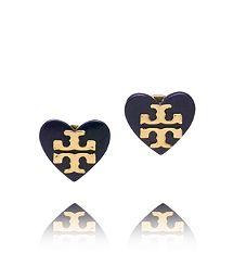 Tory burch tilsim logo heart stud earring