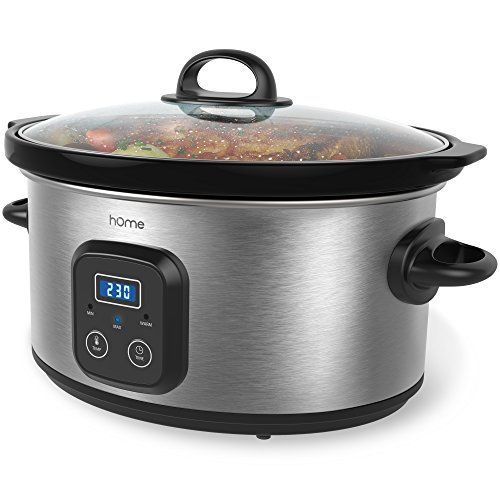 hOme 6 Quart Slow Cooker - Digital Programmable Crock Pot