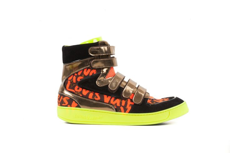 Neon Yellow & Black Leather Sneakers