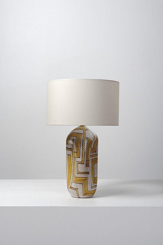 Guido Gambone; Glazed Ceramic Table Lamp, 1950s.