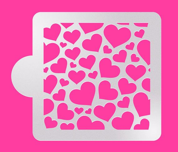 Heart 5x5 Pattern Cake Stencil Airbrushing Cookie by makeandfun